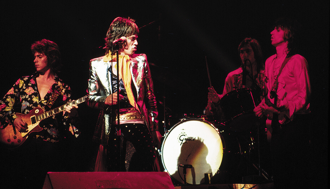 Mick Taylor, Mick Jagger, Charlie Watts, and Keith Richards of the Rolling Stones at the Forum, Inglewood, CA 1972