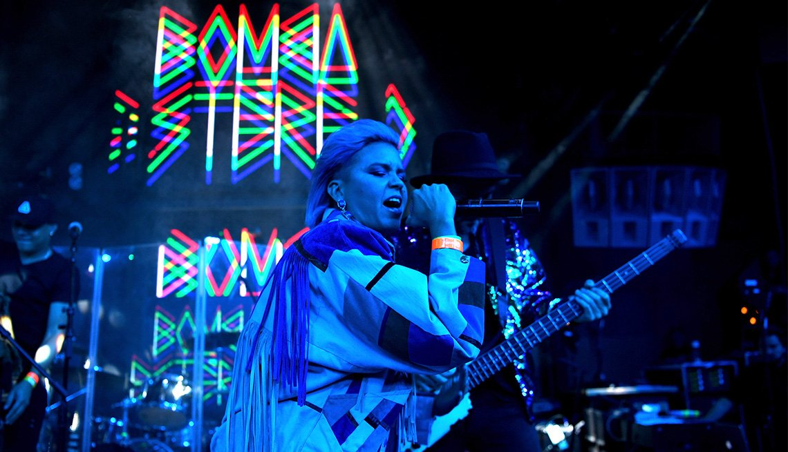 item 9, Gallery image. Liliana Saumet of Bomba Estereo performs onstage at Marquee Nightclub in Las Vegas