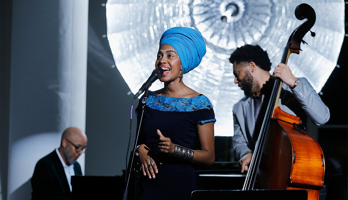item 8, Gallery image. Jazzmeia Horn performs during the 26th Annual Jazz Foundation of America Loft Party in New York City