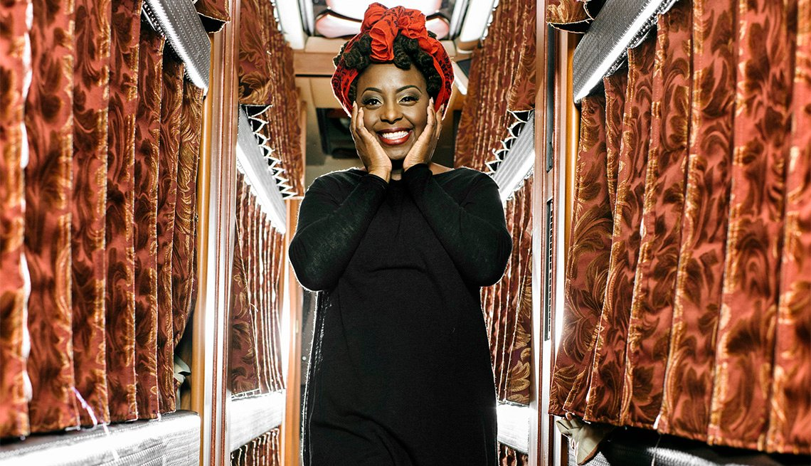 item 6, Gallery image. Ledisi on her tour bus before a concert in Baltimore
