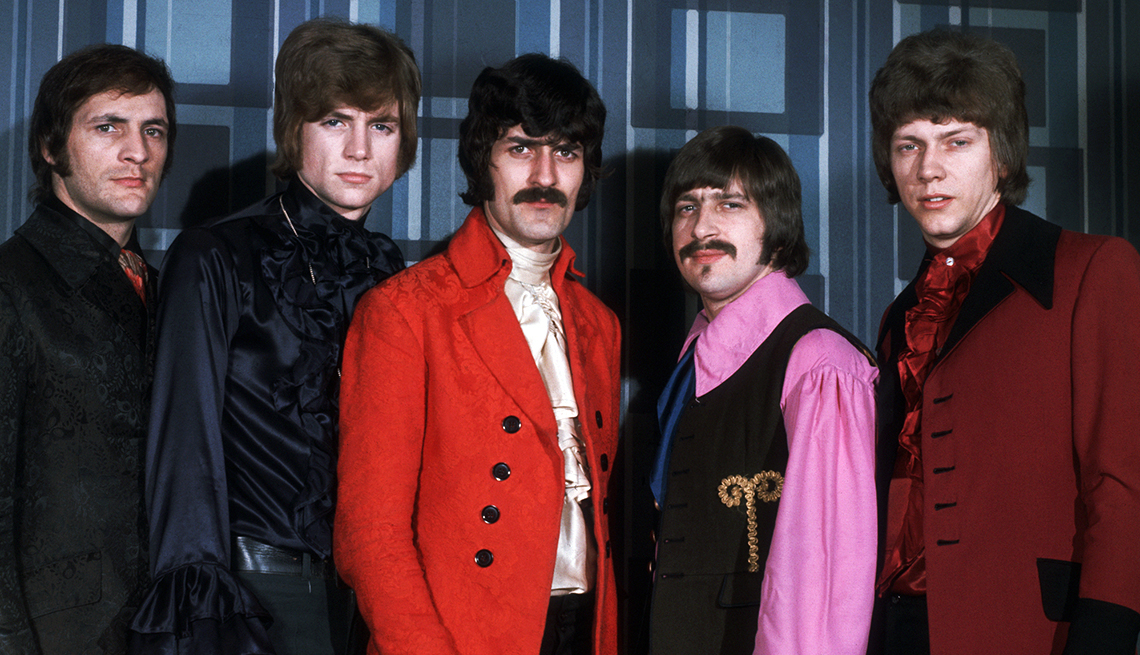 The five members of the rock band Moody Blues