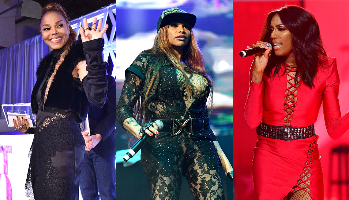 Janet Jackson, Sandra 'Pepa' Denton and Cindy Herron-Braggs pictured on separate stages