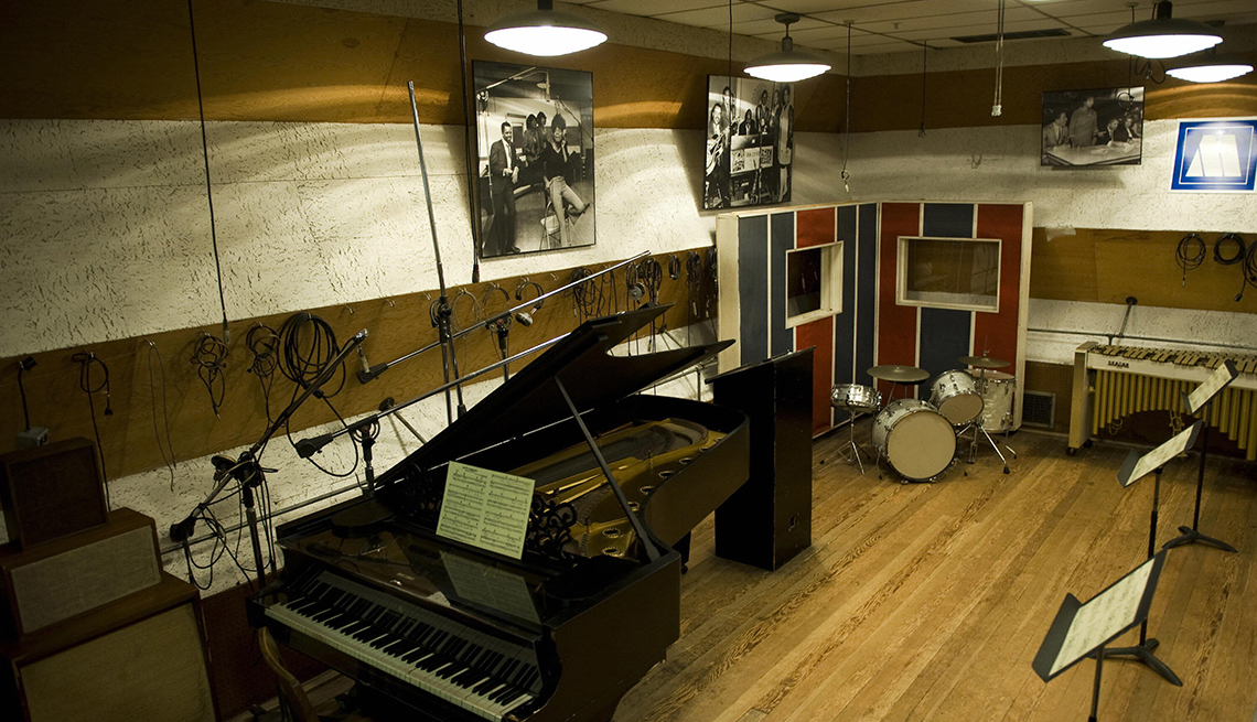 Studio with piano and drums at the Motown Museum
