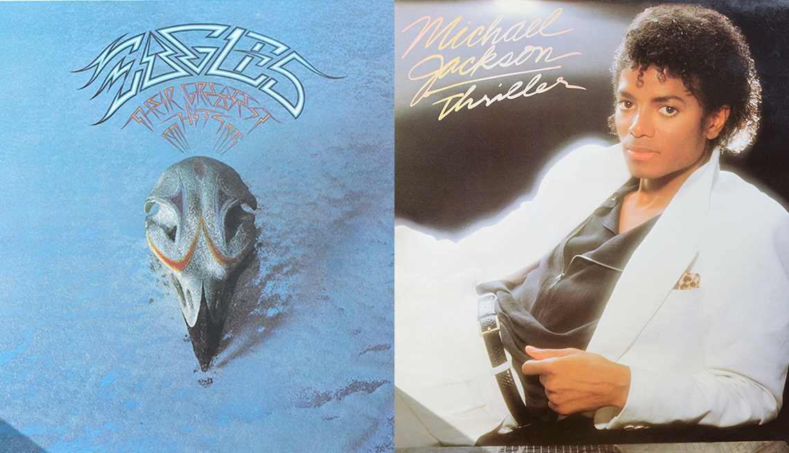 album covers: Eagles Greatest Hits and Michael Jackson's Thriller