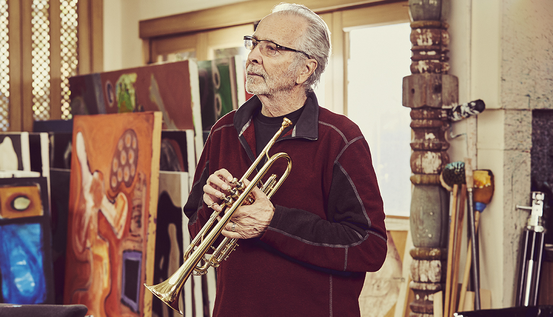 Herb Alpert with trumpet in studio