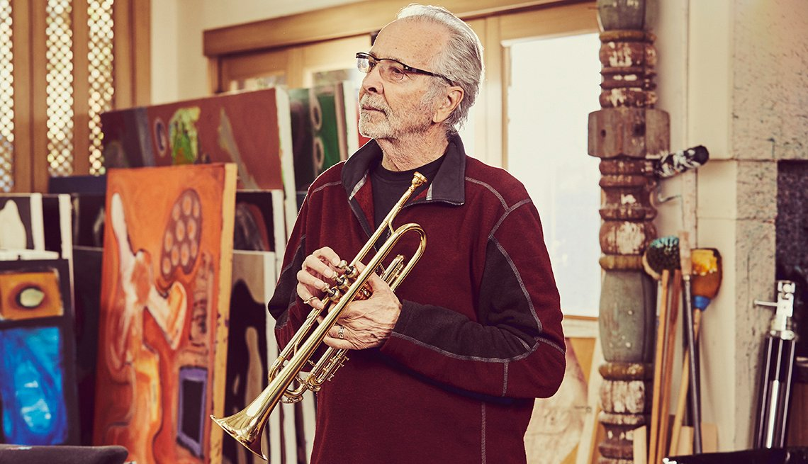 Herb Alpert with trumpet in studio