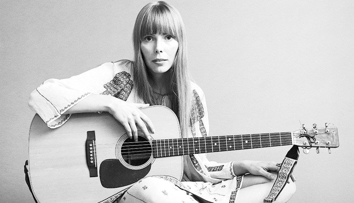 Joni Mitchell holding a guitar in 1968.