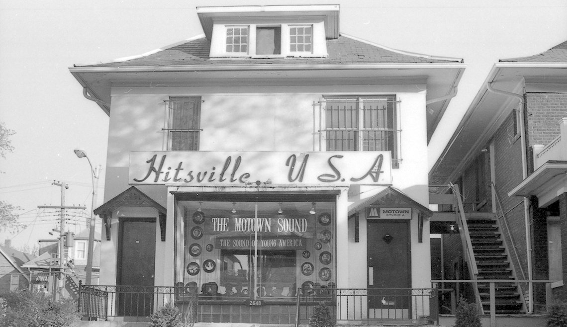 Black and white photos of Hitsville U.S.A. building