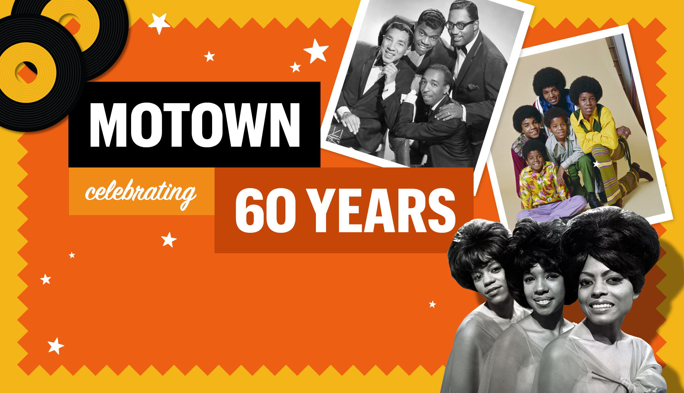 item 15 of Gallery image - Banner with images from Motown, text reads Motown celebrating 60 years