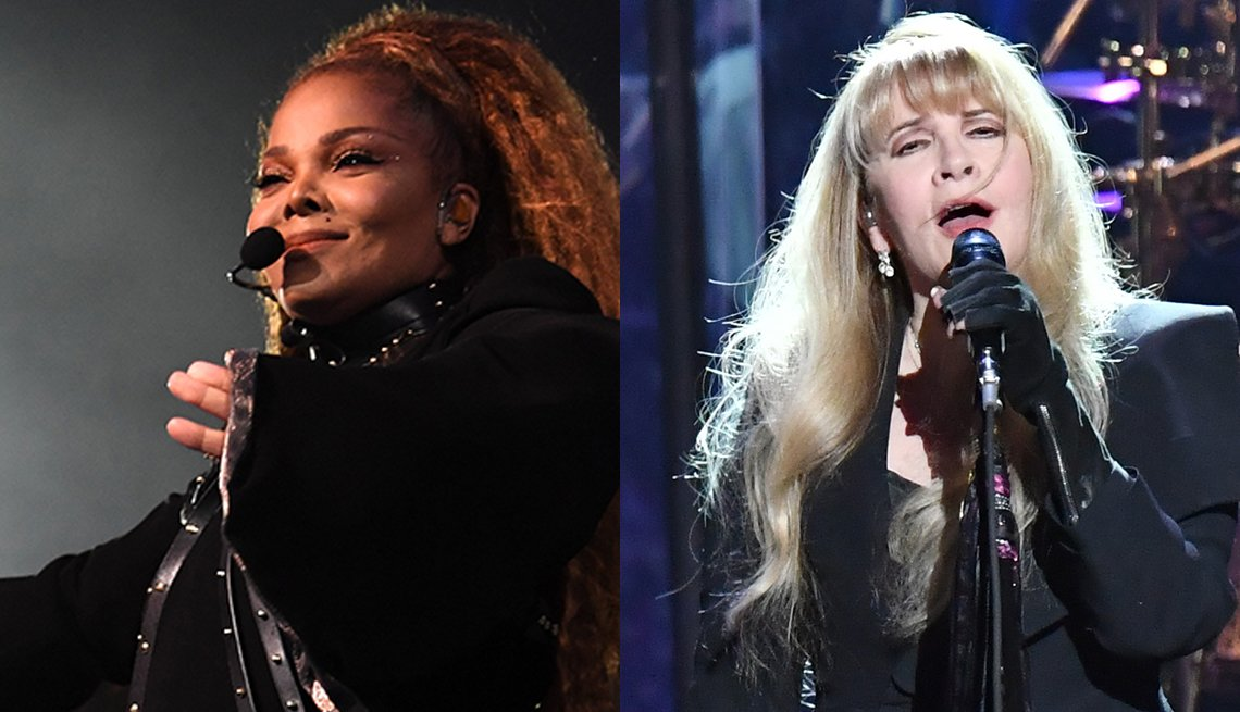 Janet Jackson and Stevie Nicks performing on stage separately