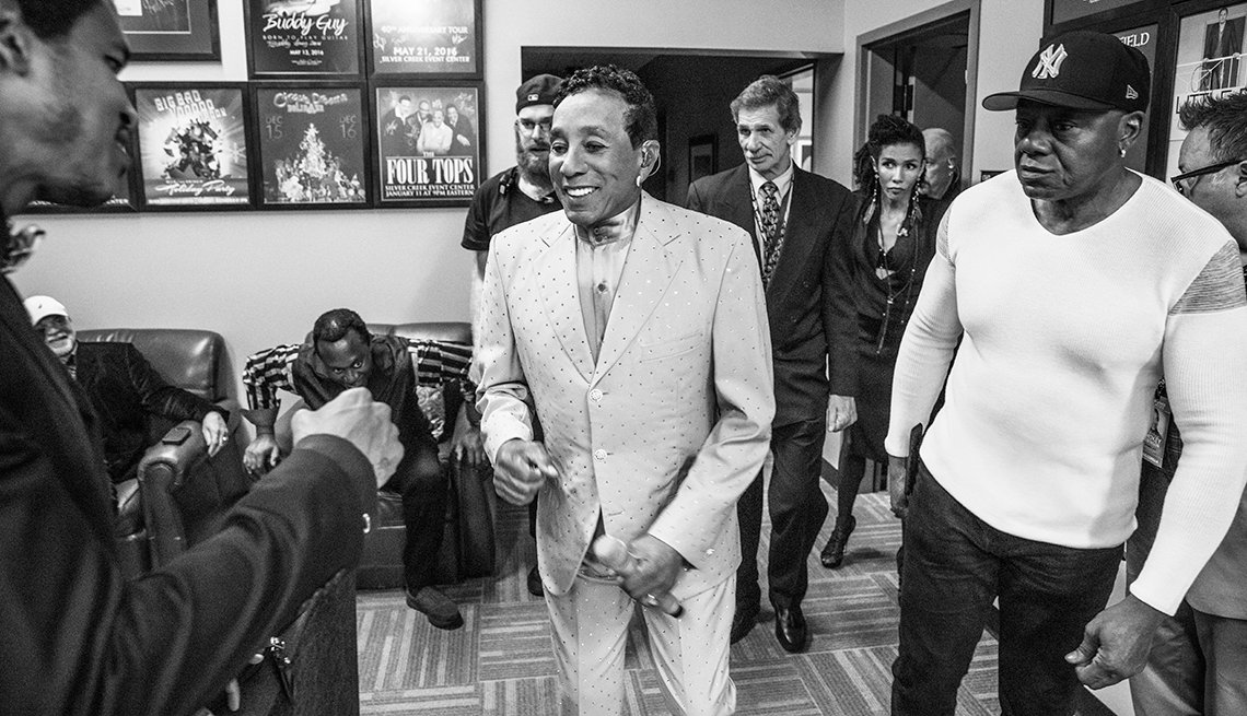Smokey Robinson backstage at a concert.