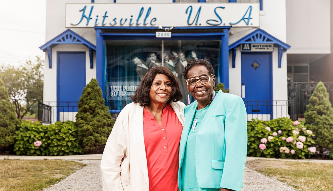 Louvain Demps and Jacqueline Hicks in front of Hitsville U.S.A. building.
