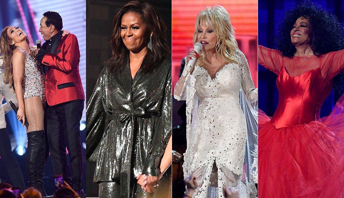 2019 Grammys: Jennifer Lopez and Smokey Robinson, Michelle Obama, Dolly Parton, Diana Ross