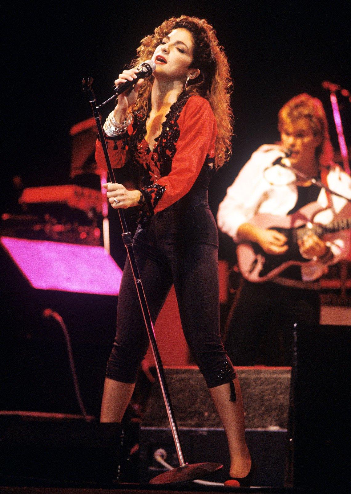 Gloria Estefan en un concierto en el Radio City Hall, Nueva York, 1988.