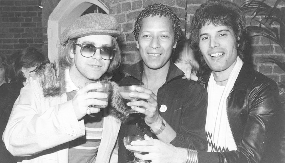 item 7 of Gallery image - Elton John with theater star Peter Straker and Freddie Mercury on October 31st, 1977.