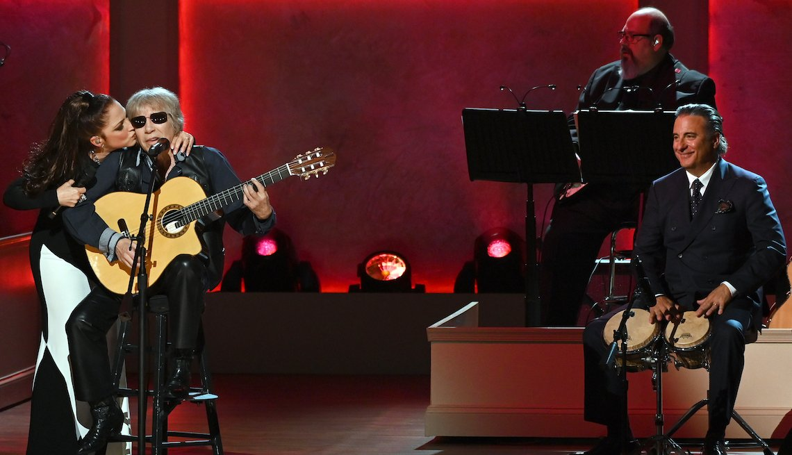 item 3, Gallery image. Gloria Estefan, Jose Feliciano and actor Andy Garcia perform at the 2019 Gershwin Prize Honoree's Tribute Concert at DAR Constitution Hall on March 13, 2019 in Washington, DC.