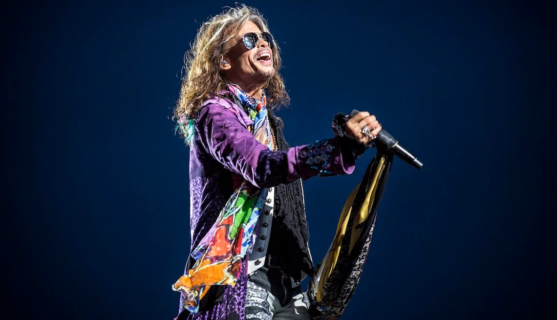 item 4, Gallery image. Aerosmith performs a live concert during the Swedish music festival Sweden Rock Festival 2017. Here vocalist Steven Tyler is seen live on stage. Sweden, 08/06 2017.