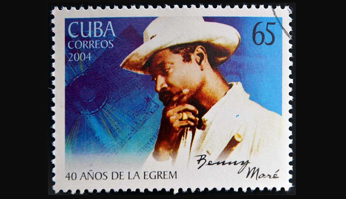 Estampilla del correo de Cuba del cantante Benny Moré, 2004.