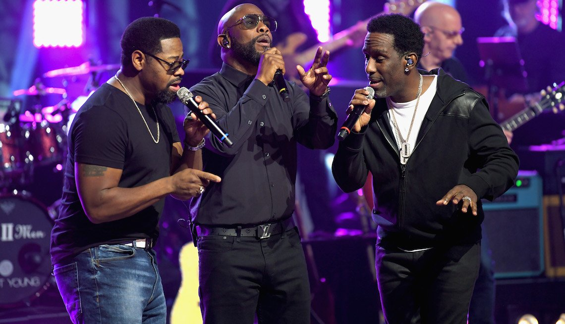 item 3, Gallery image. (L to R) Boyz II Men Nathan Morris, Wanya Morris and Shawn Stockman perform at CMT Crossroads with Boyz II Men and Brett Young on February 28, 2019 in Nashville, Tennessee.