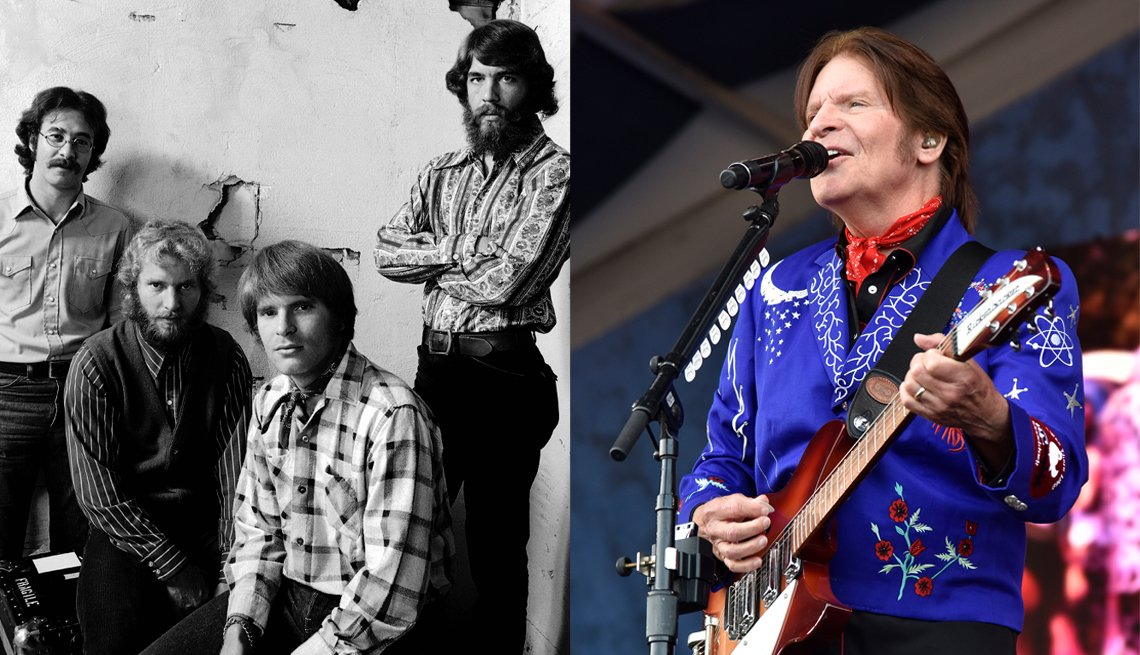 Creedence Clearwater Revival in 1970; John Fogerty in 2019