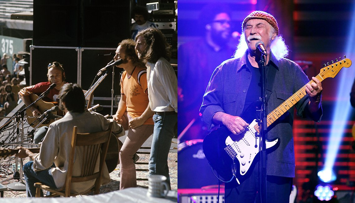 CSNY in 1974; David Crosby in 2019 appearing on The Tonight Show