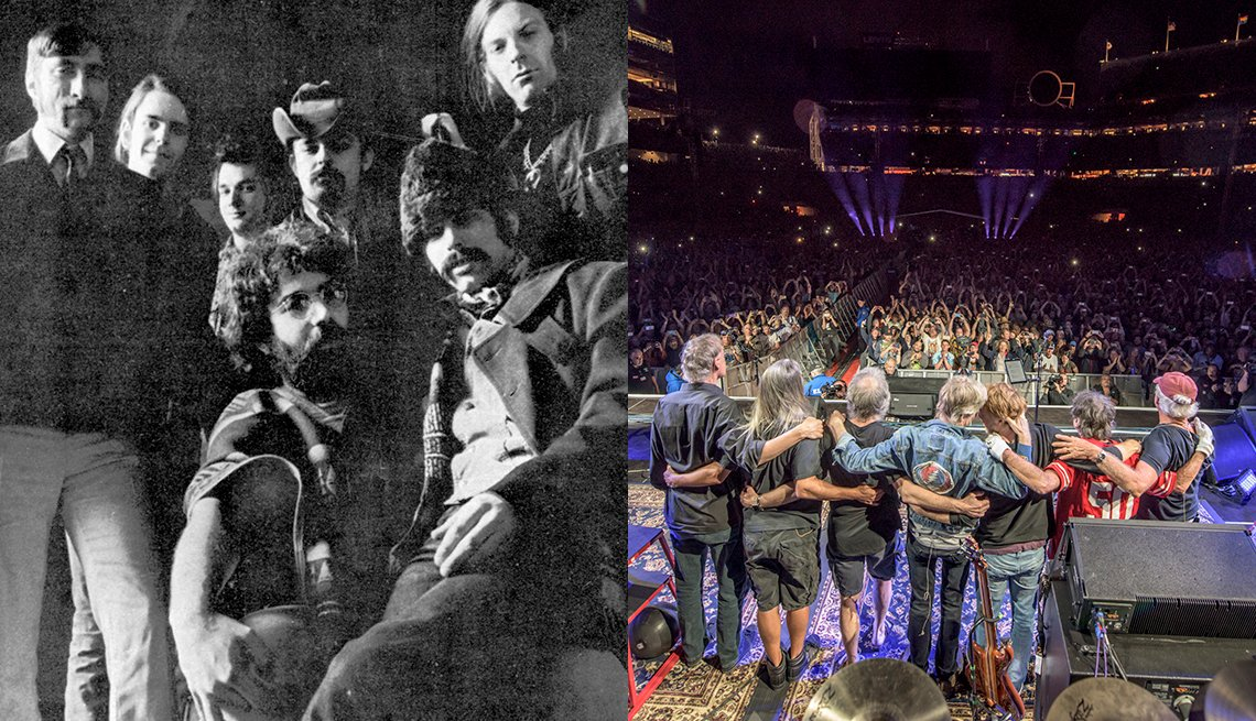 The Grateful Dead in 1969; in 2015 at the 50th anniversary Fare Thee Well concert