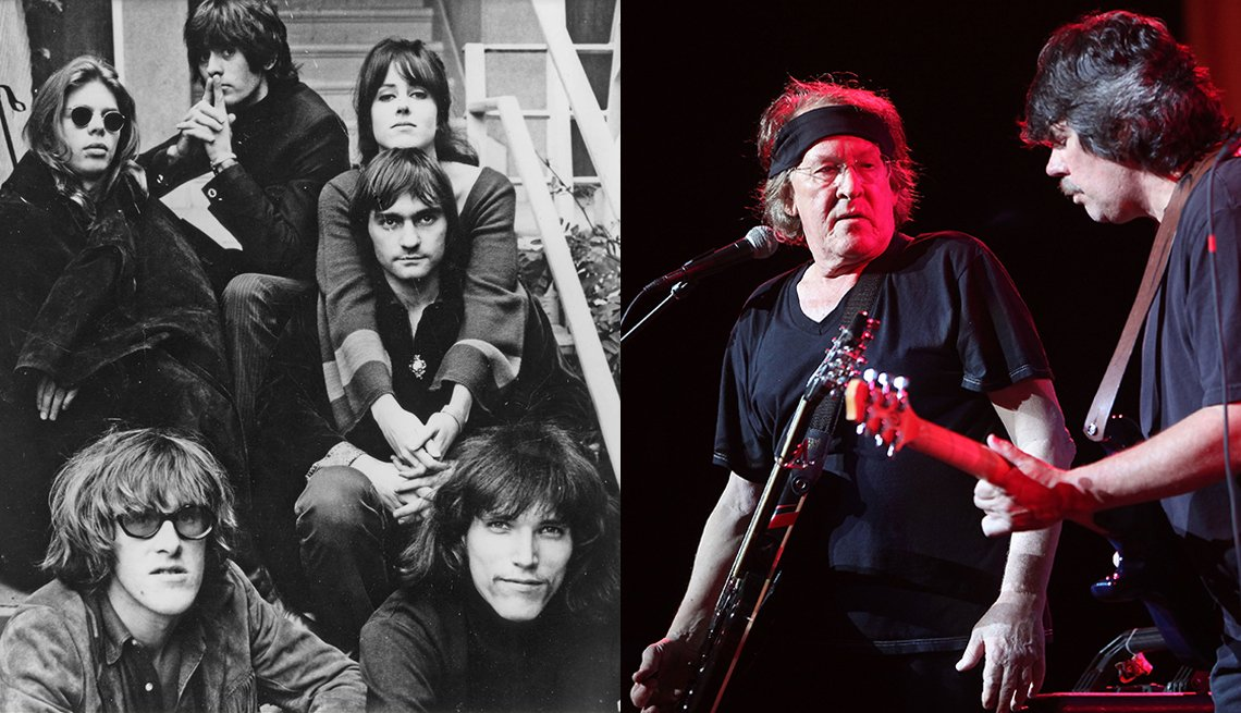 Jefferson Airplane in 1968; Paul Kantner and Slick Aguilar in 2009 at the Woodstock 40th anniversary concert