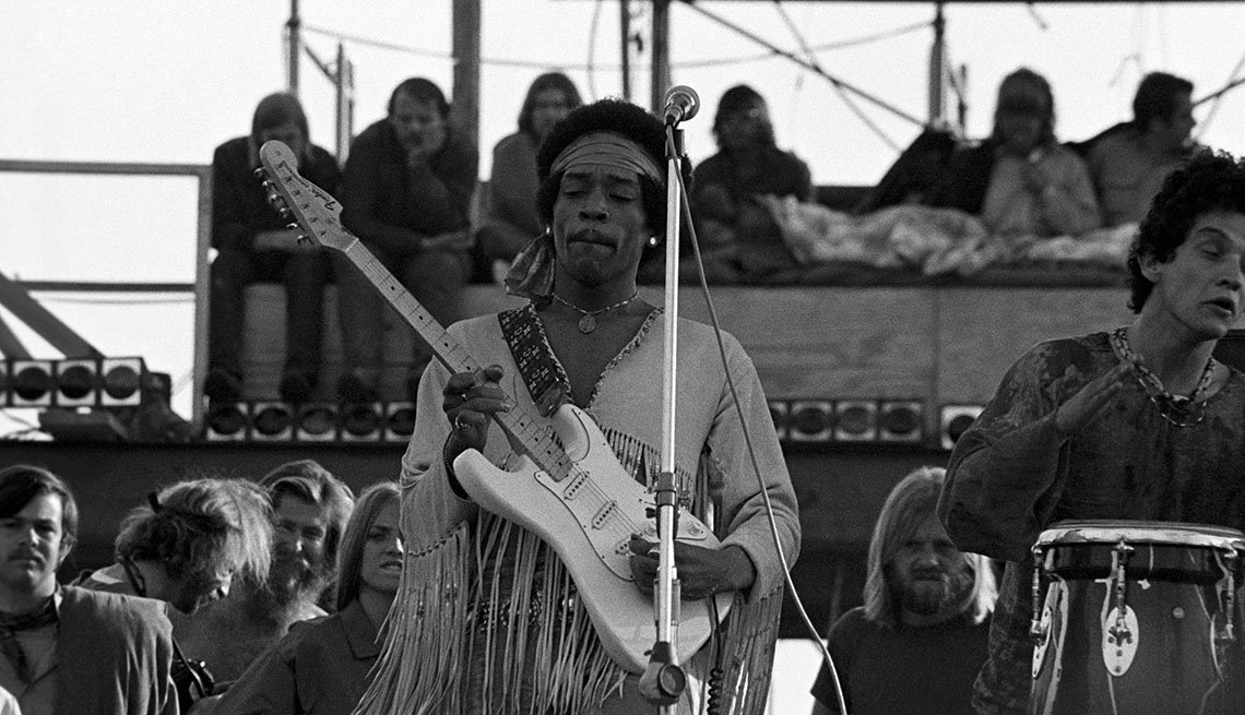 Jimi Hendrix performing his legendary 2 hour performance at Woodstock Music & Arts Festival held on Sam Yasgur's alfalfa field in Sullivan County in Bethal, New York on August 18, 1969. Hendrix insisted he close the festival