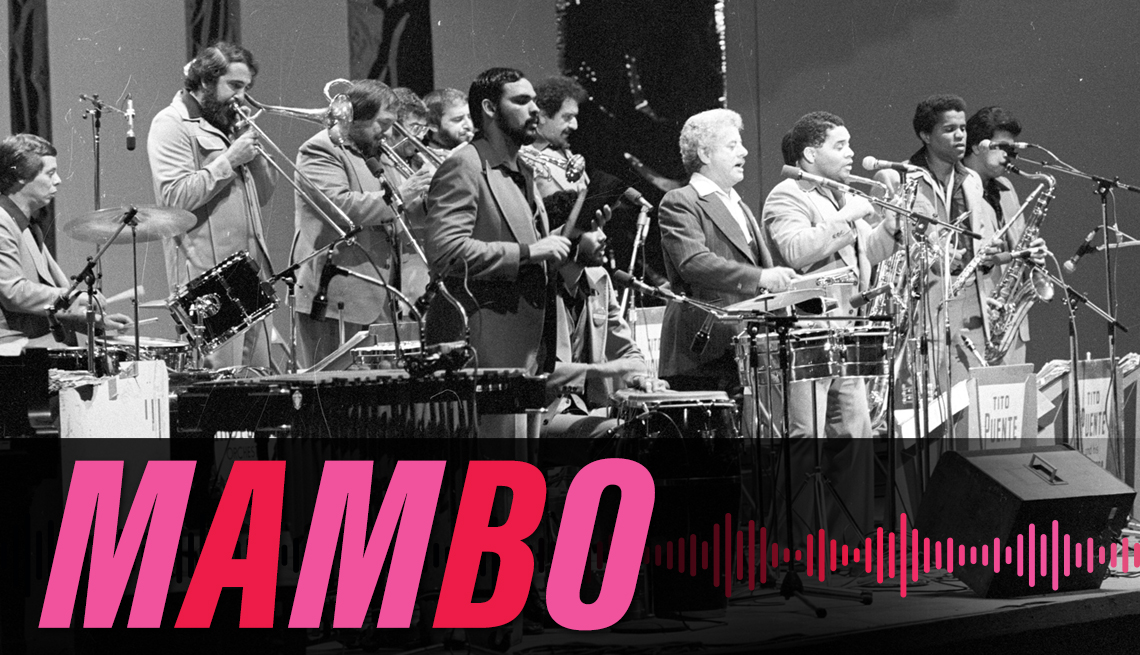 item 2, Gallery image. Tito Puente and his band performing, circa 1977, with the label mambo