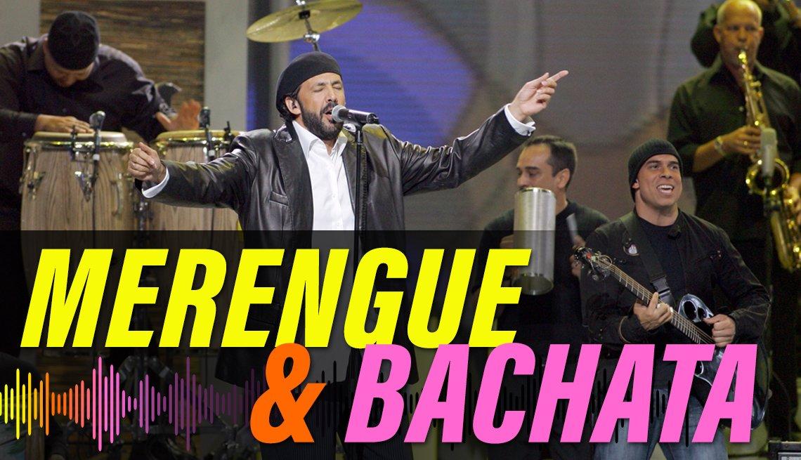 item 5 of Gallery image - Juan Luis Guerra en el Billboard Latin Music Awards, 2005, en el Miami Arena, con el texto merengue & bachata.