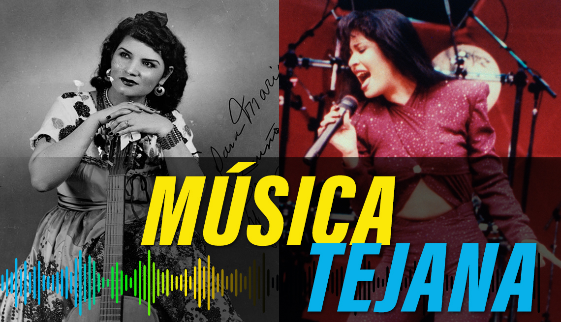 item 7 of Gallery image - split photo of Lydia Mendoza posing with a guitar and Selena Quintanilla-Pérez performing in concert, with the label of musica tejana