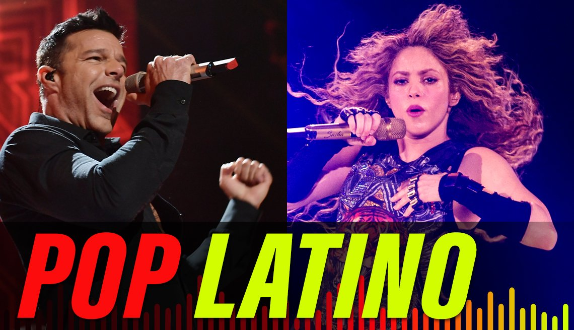 split image of Ricky Martin and Shakira both performing onstage, with the label Pop Latino