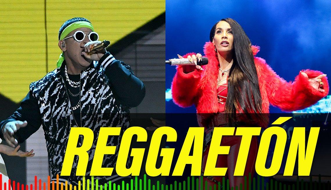 item 9 of Gallery image - Izquierda - Daddy Yankee, 2019. Derecha - Ivy Queen, 2017, con el texto Reggaetón