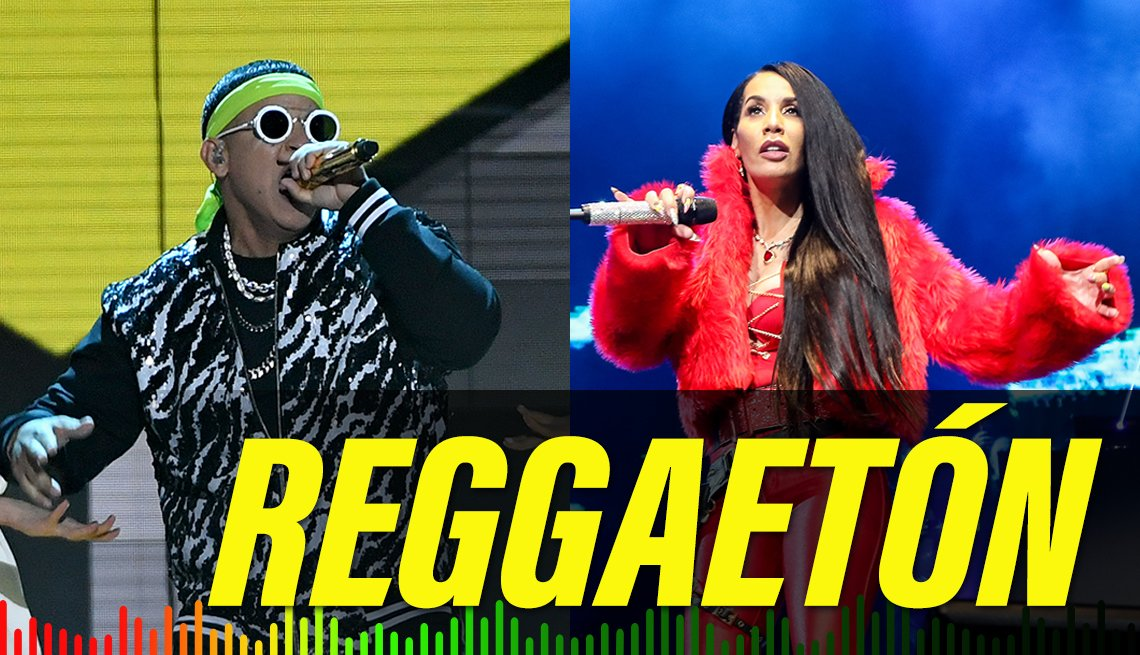item 9 of Gallery image - Split image of Daddy Yankee performing in 2019 and Ivy Queen performing on 2017, with the label Reggaeton