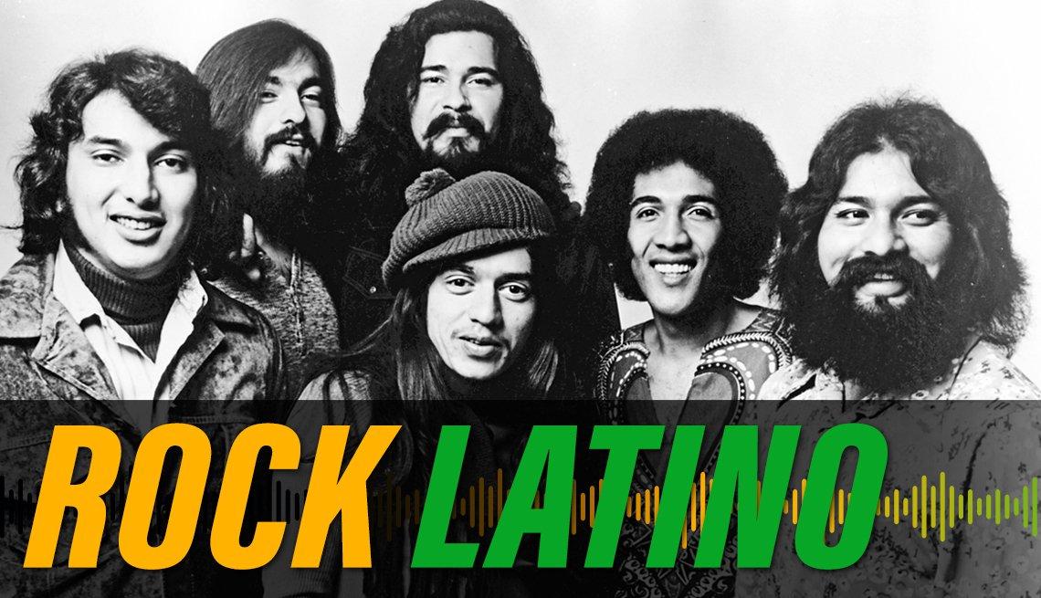 item 4 of Gallery image - La banda mexicoamericana El Chicano, con los miembros Bobby Espinosa (segundo de la izquierda) Andre Baeza (centro arriba), Mickey Lesperon (centro abajo) and Rudy Regalado (segundo a la derecha), 1970, con el texto Rock Latino.