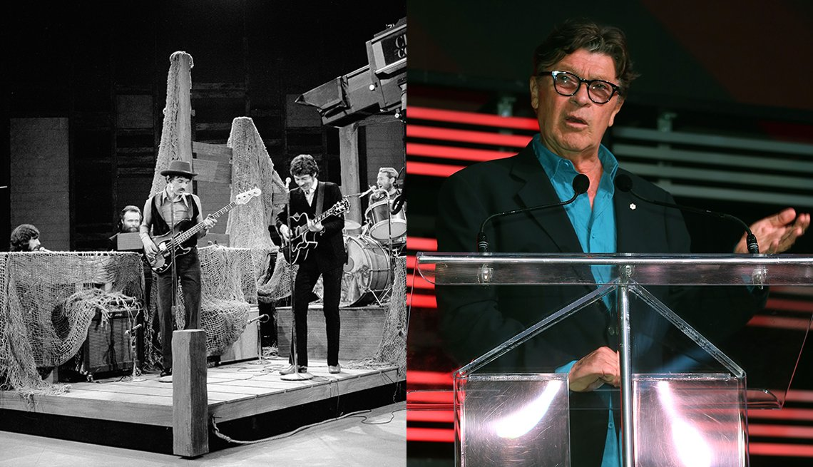 The Band perform on the Ed Sullivan show in November 1969; Robbie Robertson in 2019