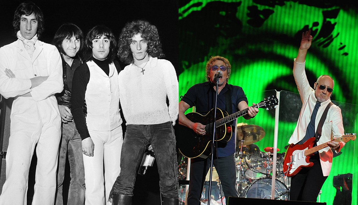 The Who in 1969; Roger Daltrey and Pete Townshend performing in 2015