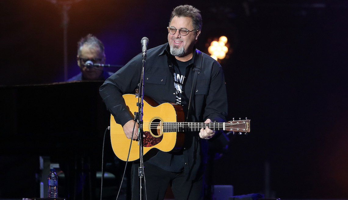 Vince Gill of The Eagles perform live on stage at Wembley Stadium on June 23, 2019 in London, England.