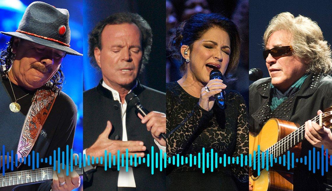 Carlos Santana, Julio Iglesias, Gloria Estefan y José Feliciano