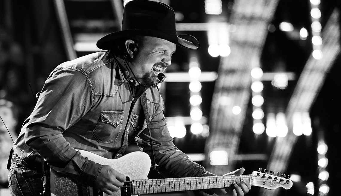 Garth Brooks performs on stage at the 2019 iHeartRadio Music Awards which broadcasted live on FOX at Microsoft Theater on March 14, 2019 in Los Angeles, California.