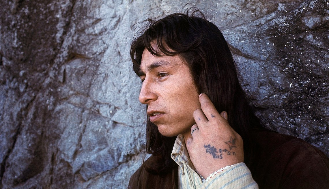 item 2 of Gallery image - This Dec. 1, 1969 file photo shows John Trudell on Alcatraz Island off San Francisco. Trudell, a poet and actor who spoke for American Indian protesters during the 1969 Alcatraz Island occupation and later headed the American Indian Movement, has died at
