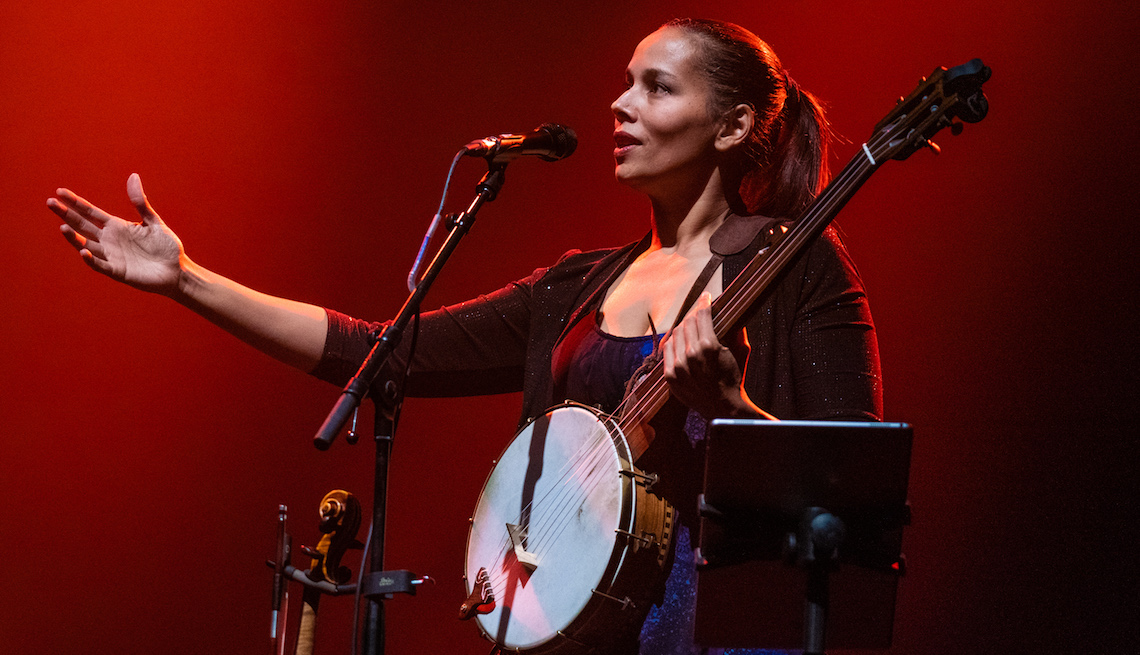 item 7, Gallery image. Rhiannon Giddens performs at The Royal Festival Hall on November 22, 2019 in London, England.