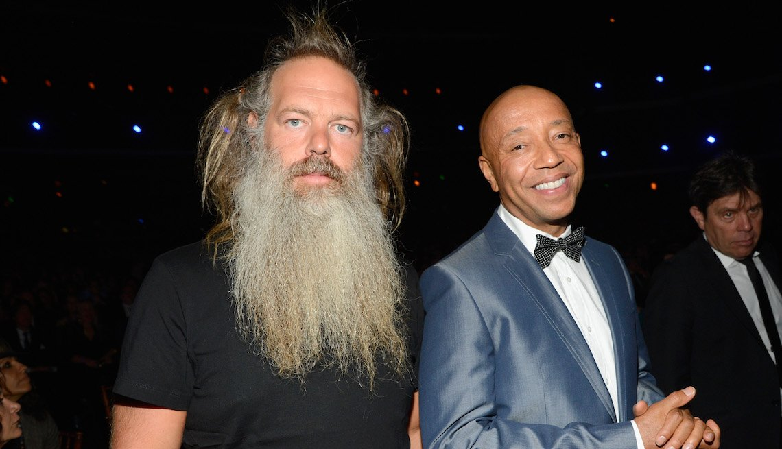 item 9, Gallery image. Rick Rubin (l) and Russell Simmons attend the 28th Annual Rock and Roll Hall of Fame Induction Ceremony at Nokia Theatre L.A. Live on April 18, 2013 in Los Angeles, California.