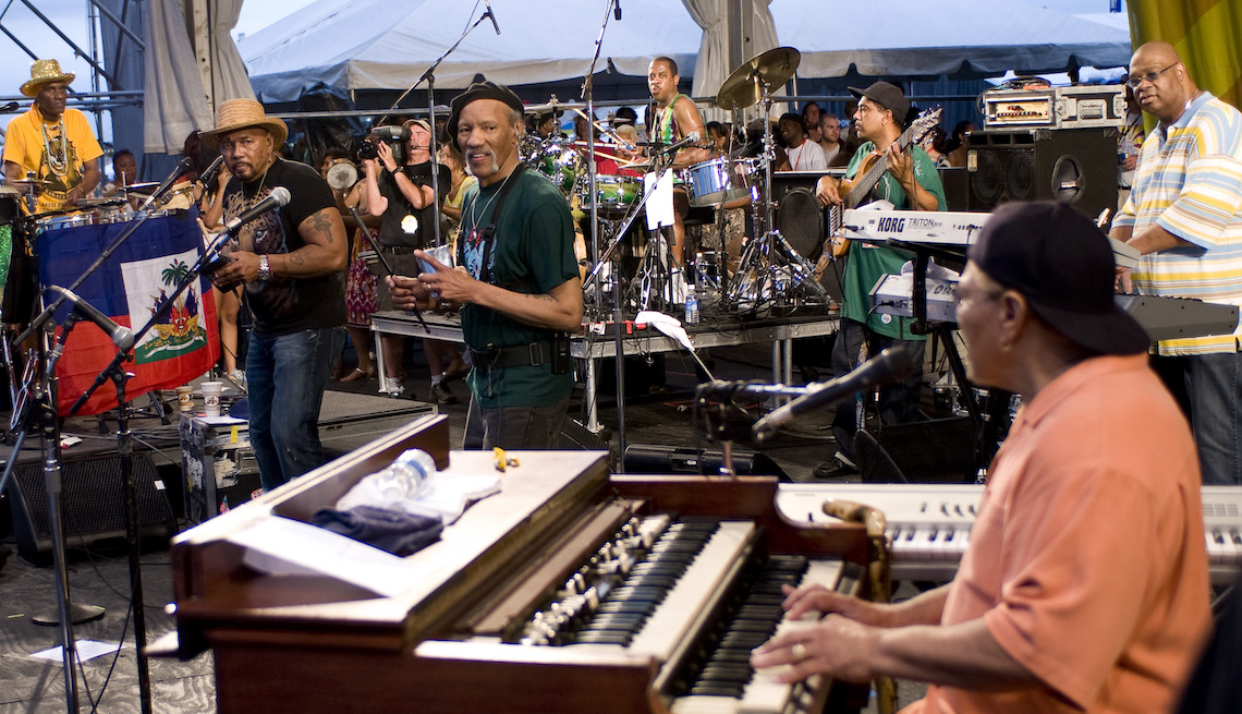 item 5, Gallery image. (L-R) Cyril, Aaron, Charles, and Art Neville of The Neville Brothers performing at the 40th Anniversary of The Jazz and Heritage Festival held in New Orleans, Louisiana on May 3, 2009.