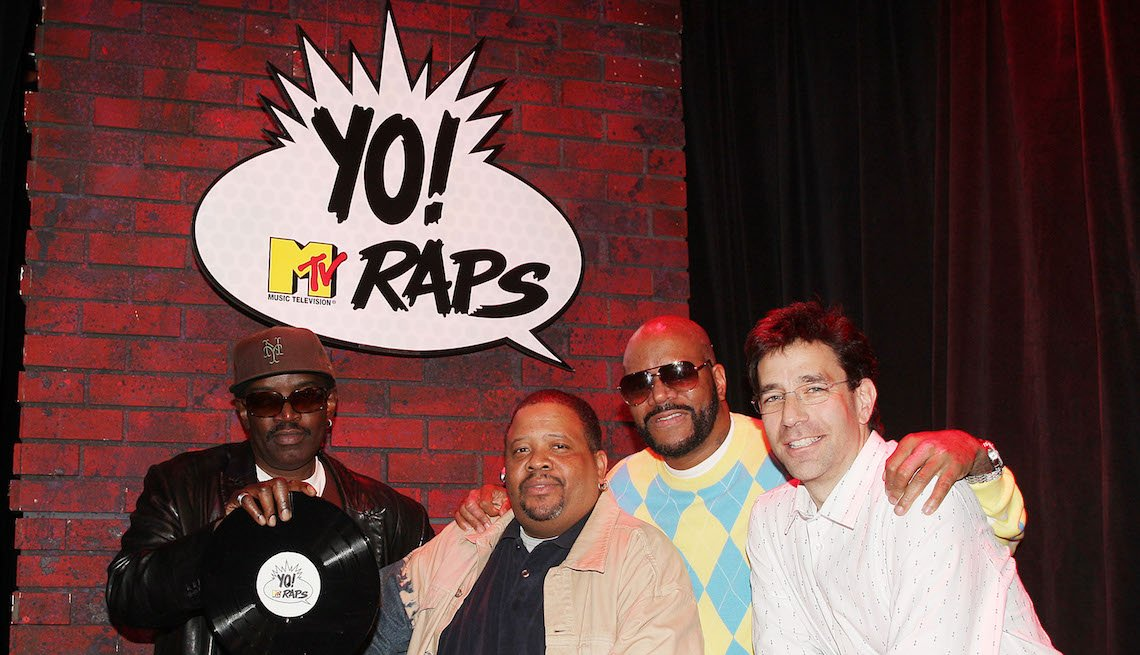 item 11, Gallery image. (L-R) Fab 5 Freddy, Doctor Dre, Ed Lover, and Dave Sirulnick pose for a photo during the Yo! MTV Raps 20th Anniversary Roundtable at the MTV Times Square Studios on April 7, 2008 in New York City.