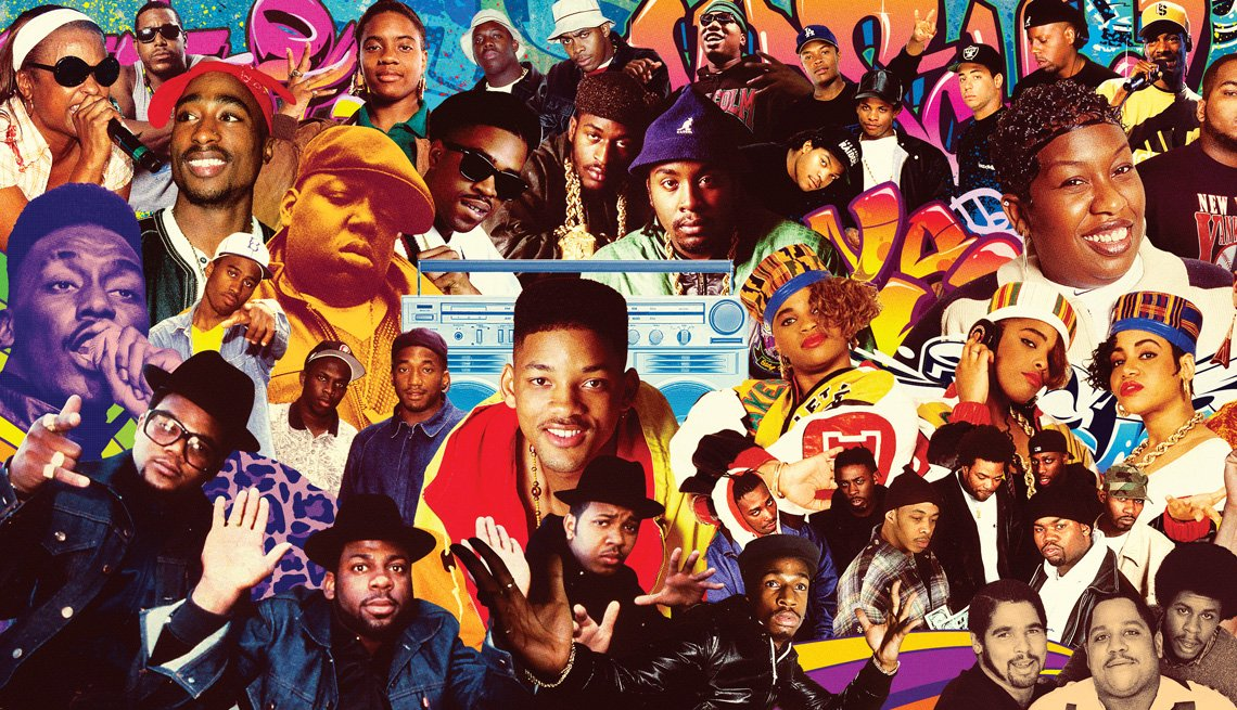 collage of dozens of the famous faces of hip hop with artists such as queen latifah, snoop dog, missy elliott, will smith, salt and pepa, jay z and many more