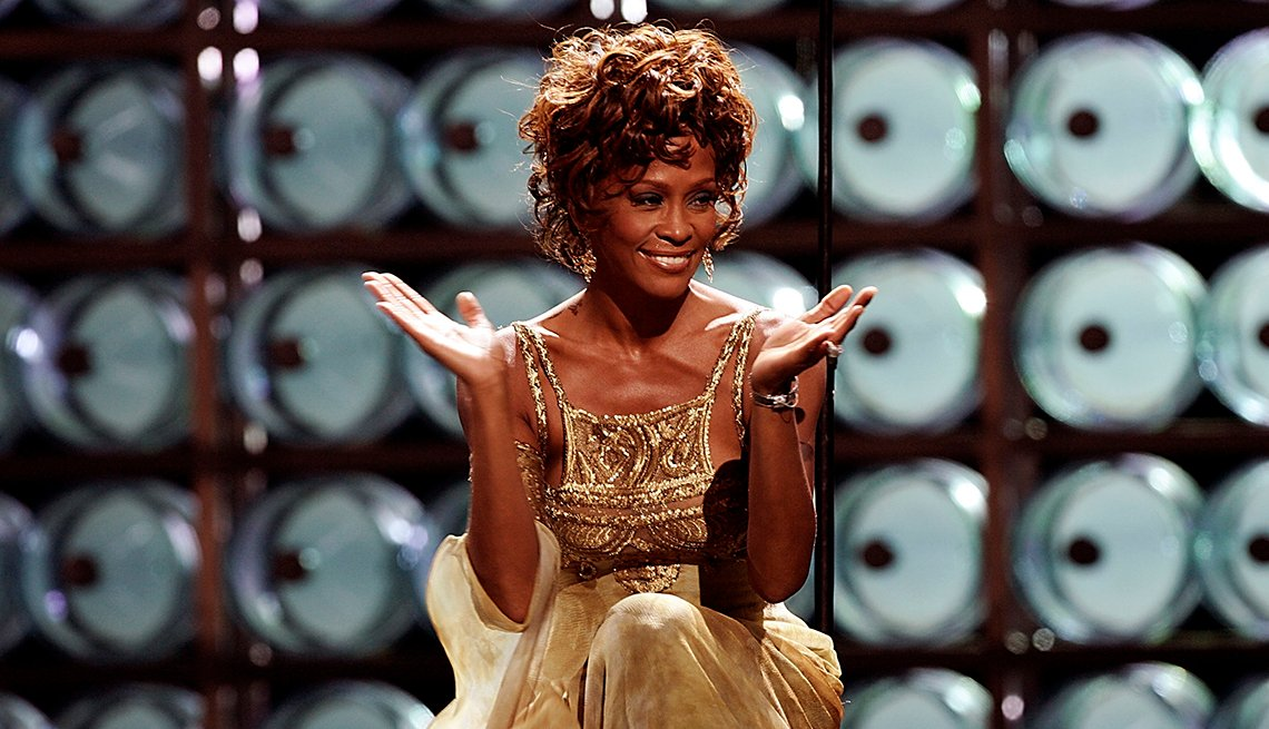 Singer Whitney Houston performing on stage during the 2004 World Music Awards at the Thomas and Mack Center on September 15 2004 in Las Vegas Nevada