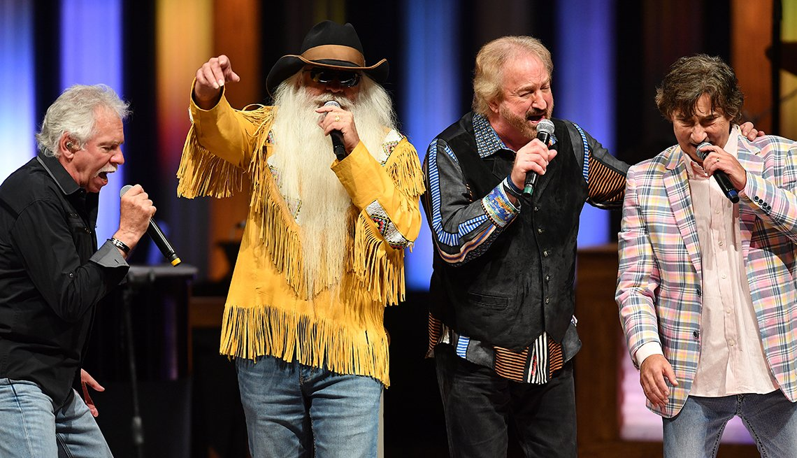 William Lee Golden Richard Sterban Joe Bonsall and Duane Allen of The Oak Ridge Boys perform at The Grand Ole Opry in Nashville Tennessee