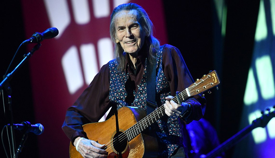 Gordon Lightfoot holds his guitar as he performs at the Saban Theatre in Beverly Hills California