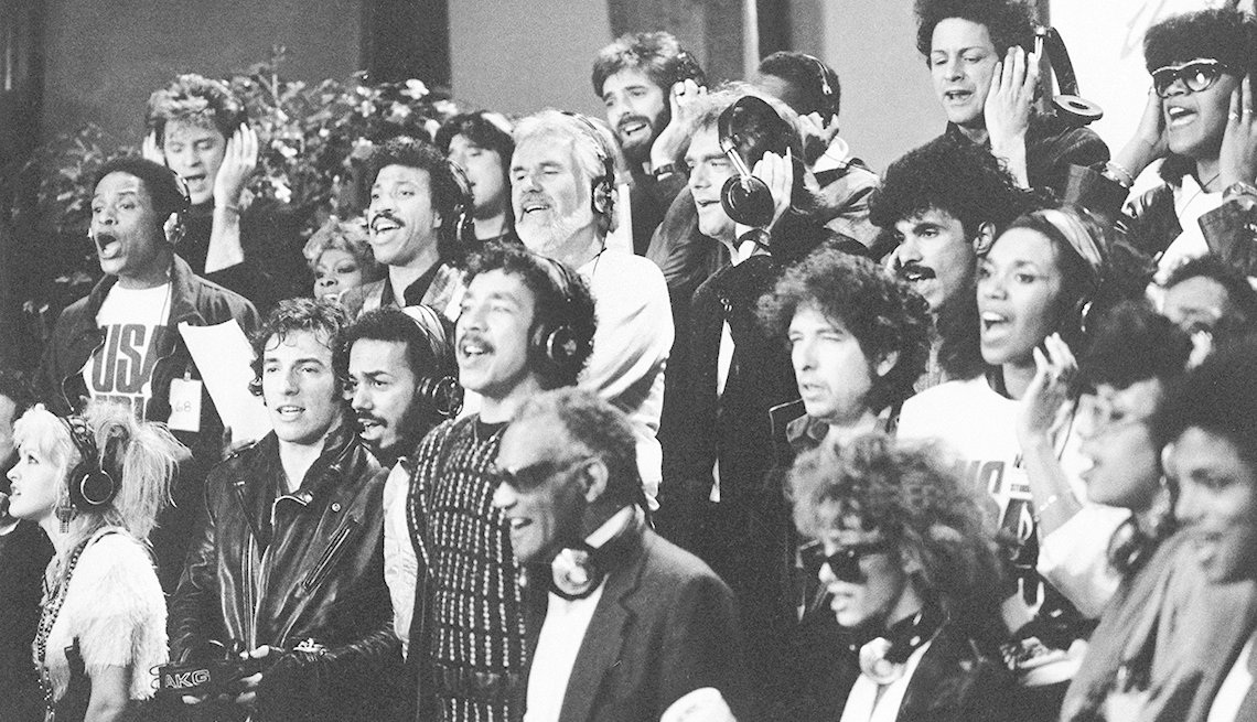 Some of the 45 music artists recording We Are the World in Los Angeles in 1985